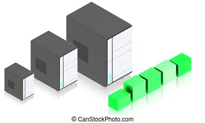 Servers - 3D animation of a simple objects for use in...