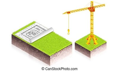 crane with project - 3D animation of a simple objects for...