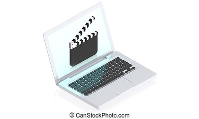 computer with cinema - 3D animation of a simple objects for...