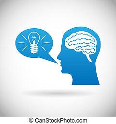 Headmind Brain in Head Silhouette Generate Lamp Idea...