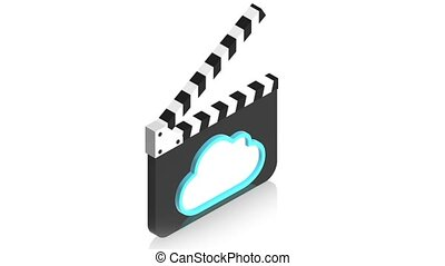 cinema with cloud - 3D animation of a simple objects for use...