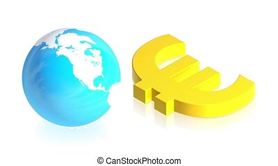 euro with earth - 3D animation of a simple objects for use...