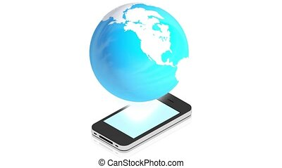 Earth with phone - 3D animation of a simple objects for use...