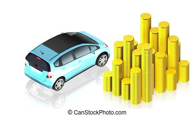 coins with car - 3D animation of a simple objects for use in...