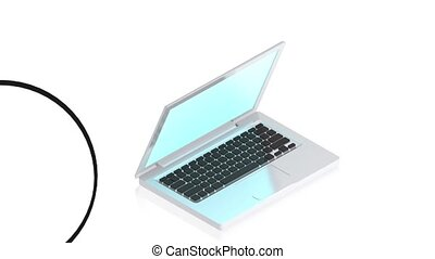 Laptop with items - 3D animation of a simple objects for use...