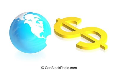 Dollar with earth - 3D animation of a simple objects for use...