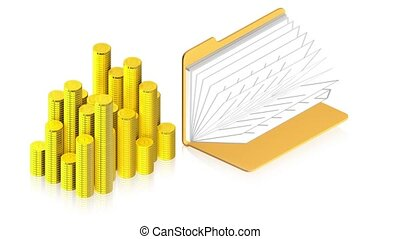 Coins with folder - 3D animation of a simple objects for use...