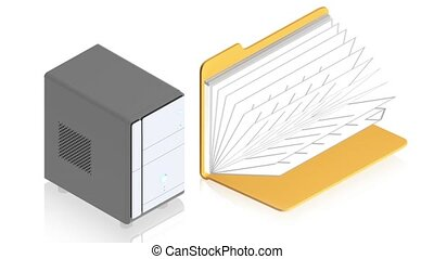 Server with folder - 3D animation of a simple objects for...