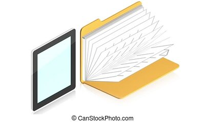 Tablet pc with folder - 3D animation of a simple objects for...