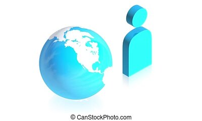 man icon with earth - 3D animation of a simple objects for...