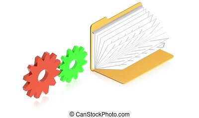 Gears with folder - 3D animation of a simple objects for use...