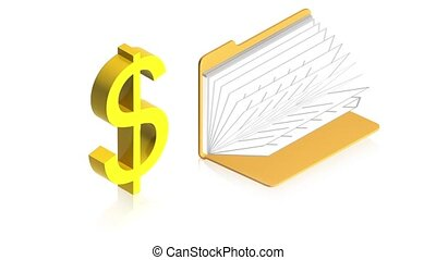 Dollar sign with folder - 3D animation of a simple objects...