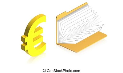 Euro sign with folder - 3D animation of a simple objects for...