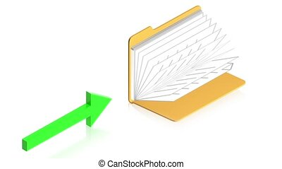 arrows with folder - 3D animation of a simple objects for...