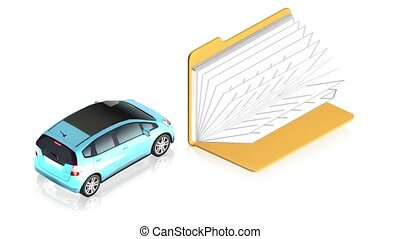 Car with folder - 3D animation of a simple objects for use...