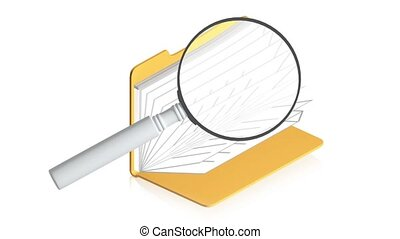 magnifying with folder - 3D animation of a simple objects...