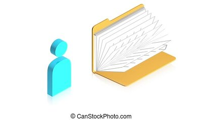 Man icon with folder - 3D animation of a simple objects for...
