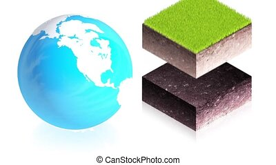 Earth with ground blocks - 3D animation of a simple objects...