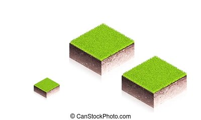 Ground blocks with arrows - 3D animation of a simple objects...