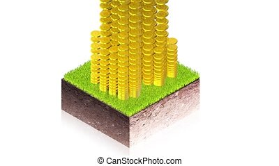 Coins with ground block - 3D animation of a simple objects...