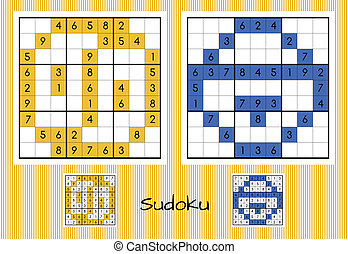 Unique sudoku set - Set of two unique sudoku with answers
