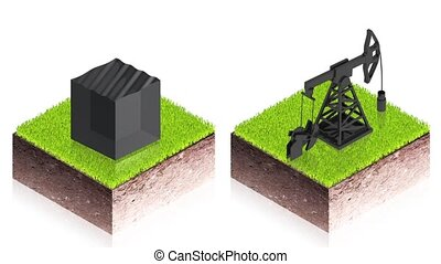 oil pump - 3D animation of a simple objects for use in...