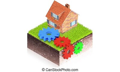 house with gears - 3D animation of a simple objects for use...