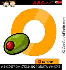letter o with olive cartoon illustration - Cartoon...