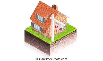 House for sale - 3D animation of a simple objects for use in...
