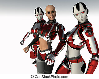 cyborg woman - HD 3d render of cyborg woman