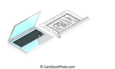 laptop with project - 3D animation of a simple objects for...