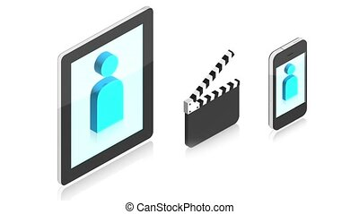 Cinema with gadgets - 3D animation of a simple objects for...
