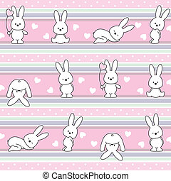 pattern with rabbit - seamless vector baby. pattern with...