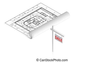 Sale sign with project - 3D animation of a simple objects...