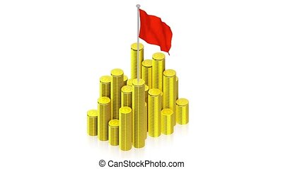 Gold coins with red flag - part of isometric collections of...