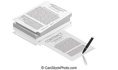 Pen on the contract papers - part of isometric collections...