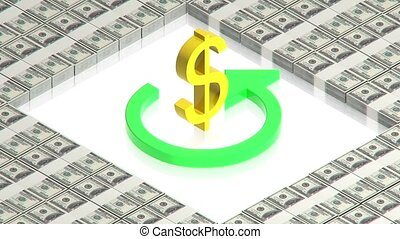 Dollar sign on paper dollars - part of isometric collections...