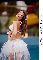 hawaii woman - Happy woman in hawaii costume