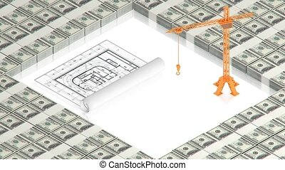 crane with project on dollars - part of isometric...