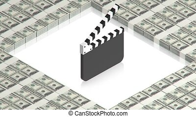 clapperboard with dollars - part of isometric collections of...