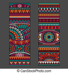 Abstract vector ethnic pattern cards set - Abstract...