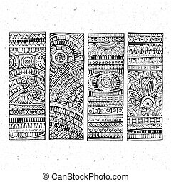 Abstract vector hand drawn ethnic banners - Abstract...