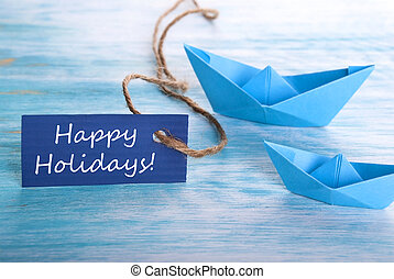 Blue Banner with Happy Holidays
