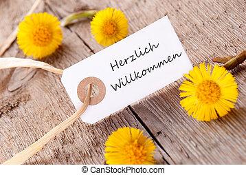 White Banner with Herzlich Willkommen - White Banner with...