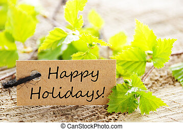 Label with Happy Holidays
