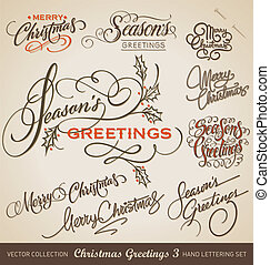 CHRISTMAS hand lettering set vector - Set of 9 hand-lettered...