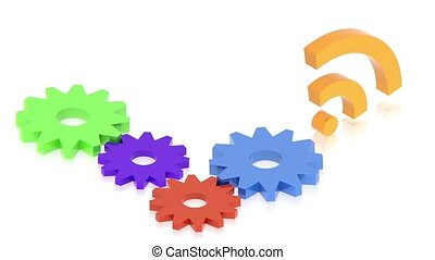 gears with wifi sign - part of isometric collections of...