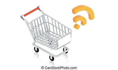 shopping cart with wifi sign - part of isometric collections...