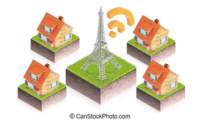 antenna wifi - part of isometric collections of animated...
