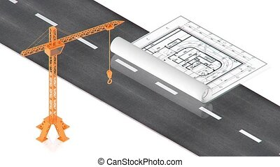 Crane near the road - part of isometric collections of...